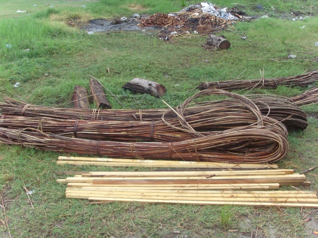 Rattan left under the sun to dry