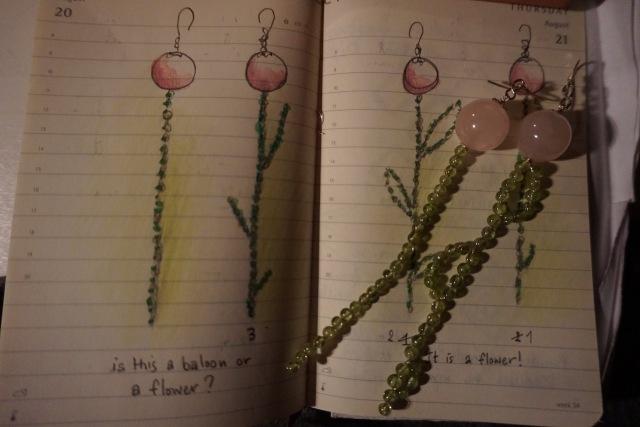 Balloon-Flower earrings. Design by Andromachi Lykartsi